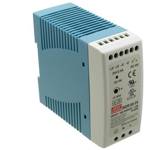 Zasilacz impulsowy 24VDC, 60W; 2.5A; MeanWell; MDR-60-24