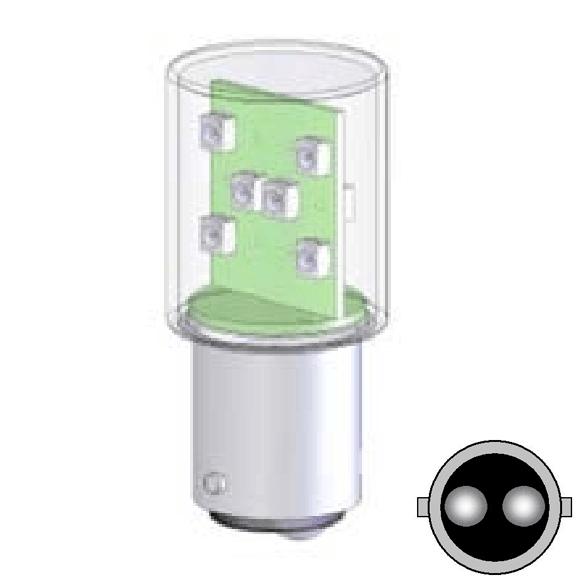 Żarówka LED BA15D, 12 diod LED, 24V AC/DC, światło ciągłe – Białe