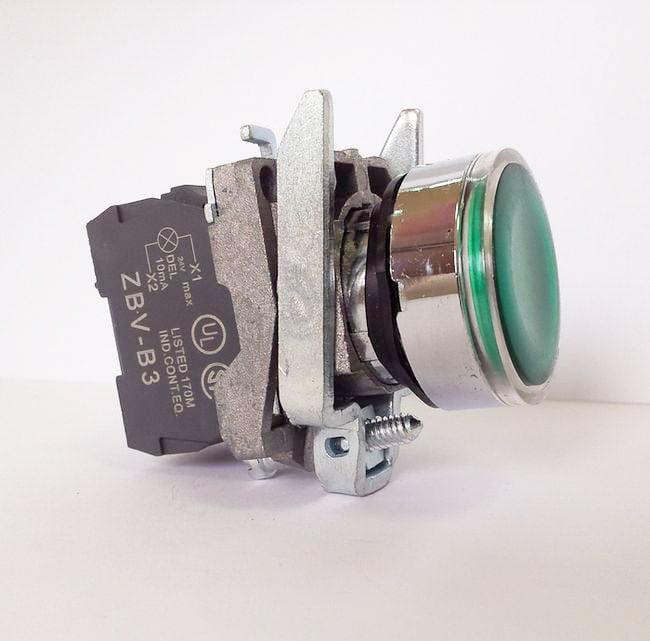 LA139T-BW33B1 – przycisk podświetlany z samoczynnym powrotem – ZIELONY, LED 24V