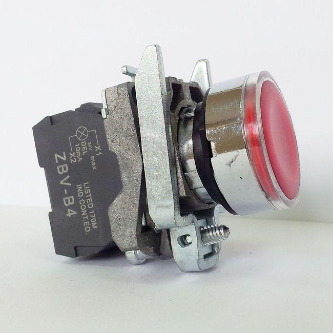 LA139T-BW3461 – przycisk podświetlany z samoczynnym powrotem – CZERWONY, LED 230V