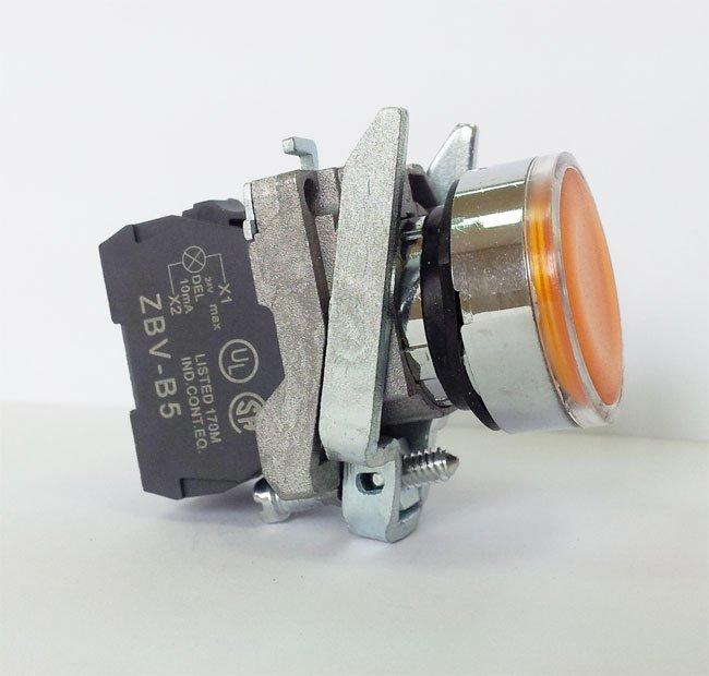 LA139T-BW35B1 – przycisk podświetlany z samoczynnym powrotem – ŻÓŁTY, LED 24V