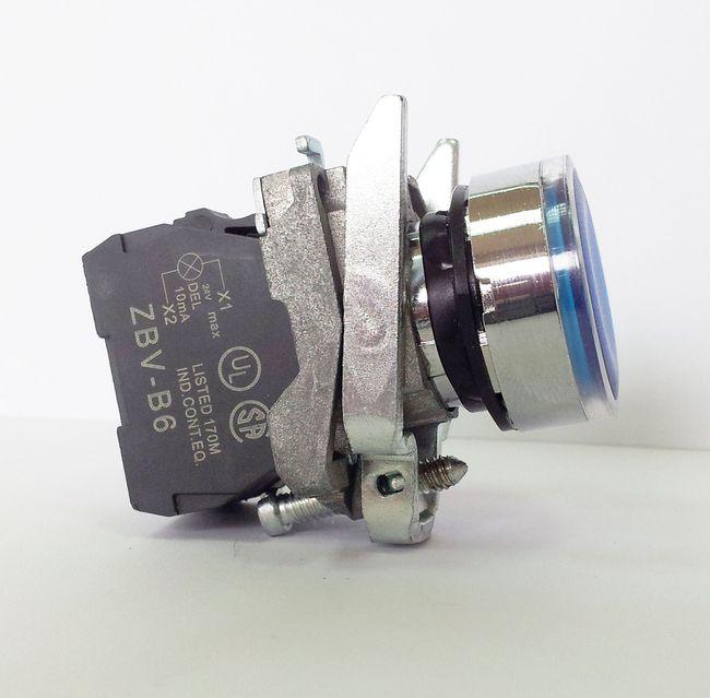 LA139T-BW36B1 – przycisk podświetlany z samoczynnym powrotem – NIEBIESKI, LED 24V