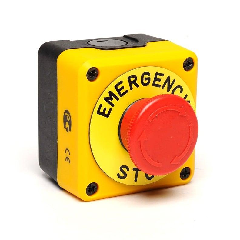 """P1E-K Kaseta z przyciskiem przekręcanym Stop, IP65, tabliczka """"Emergency Stop"""""""