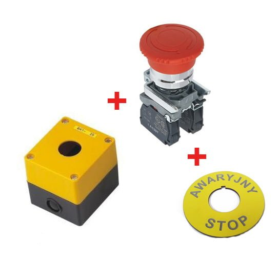 Kaseta + Przycisk przekręcany+ etykieta Awaryjny STOP BX1+BS542+STOP. W komplecie taniej!