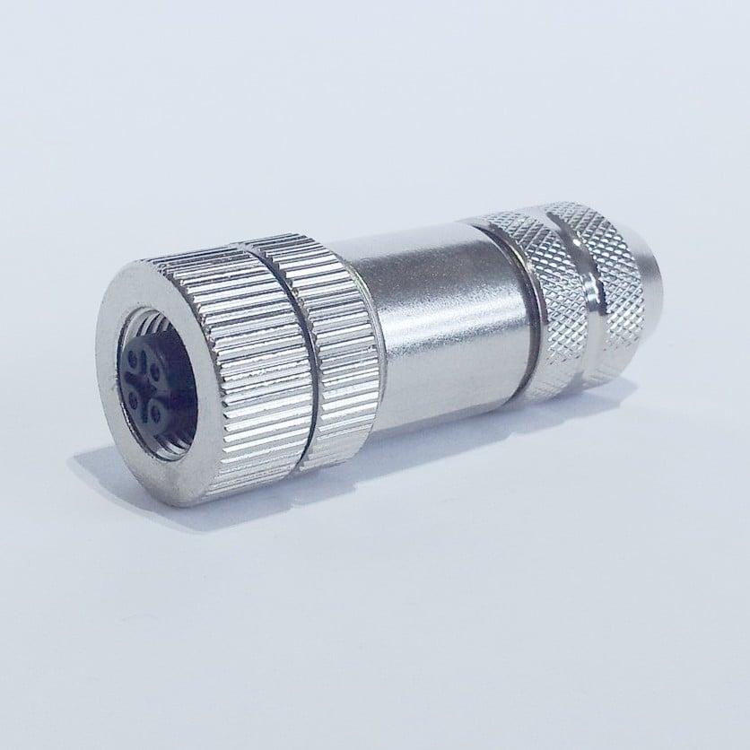 SE12-NF-M złącze metalowe M12 żeńskie, wtyk prosty, 4-pin, skręcane