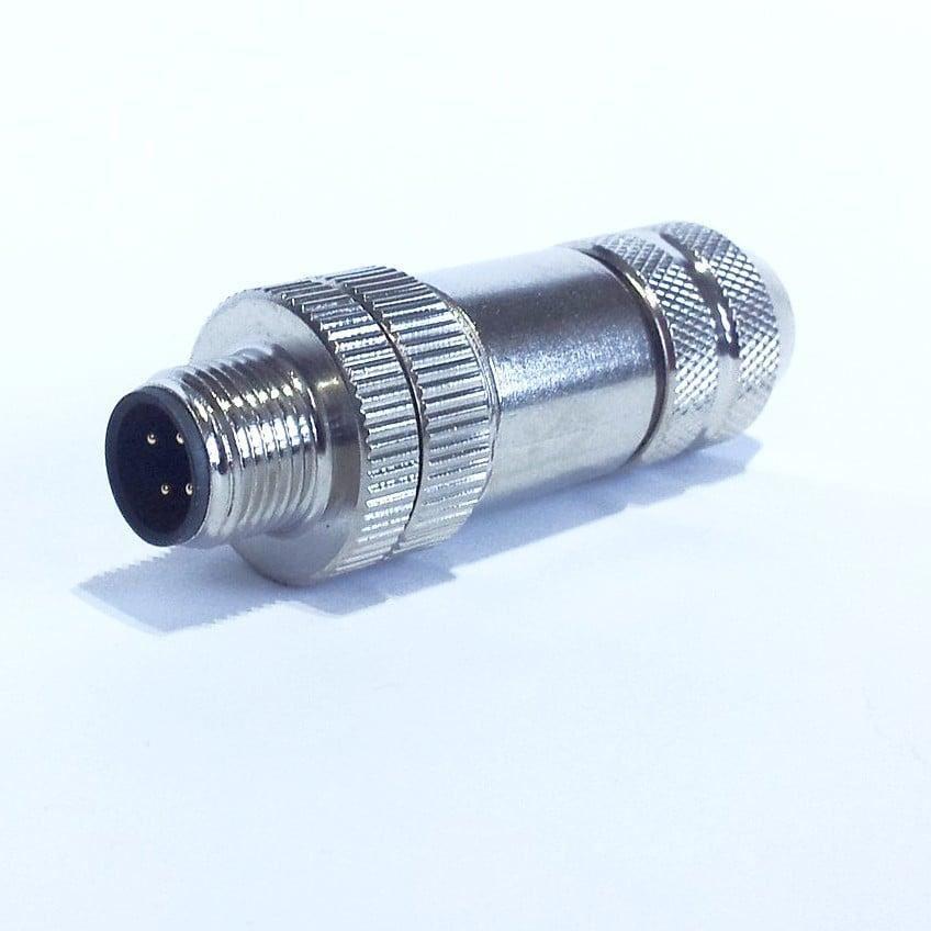 SE12-WF-M złącze metalowe M12 męskie, wtyk prosty, 4-pin, skręcane