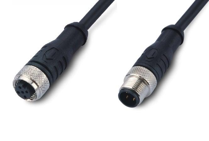 FE12N4F-0.5m-E12W4F przewód dwustronny: złącze żeńskie M12 4pin – przewód 50cm – złącze męskie M12 4-piny