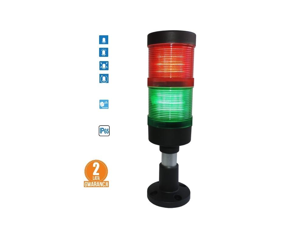 Kolumna LED FL70: 2kolory + buzzer, IP65, 4tryby świecenia! komplet