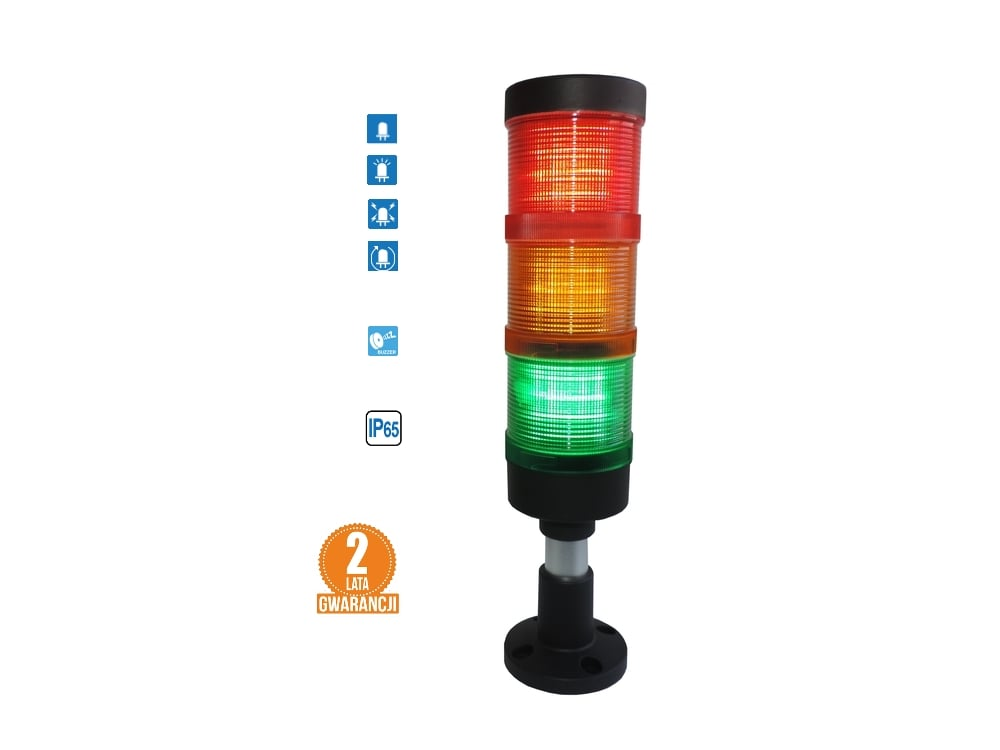 Kolumna LED FL70: 3kolory + buzzer, IP65, 4tryby świecenia! komplet