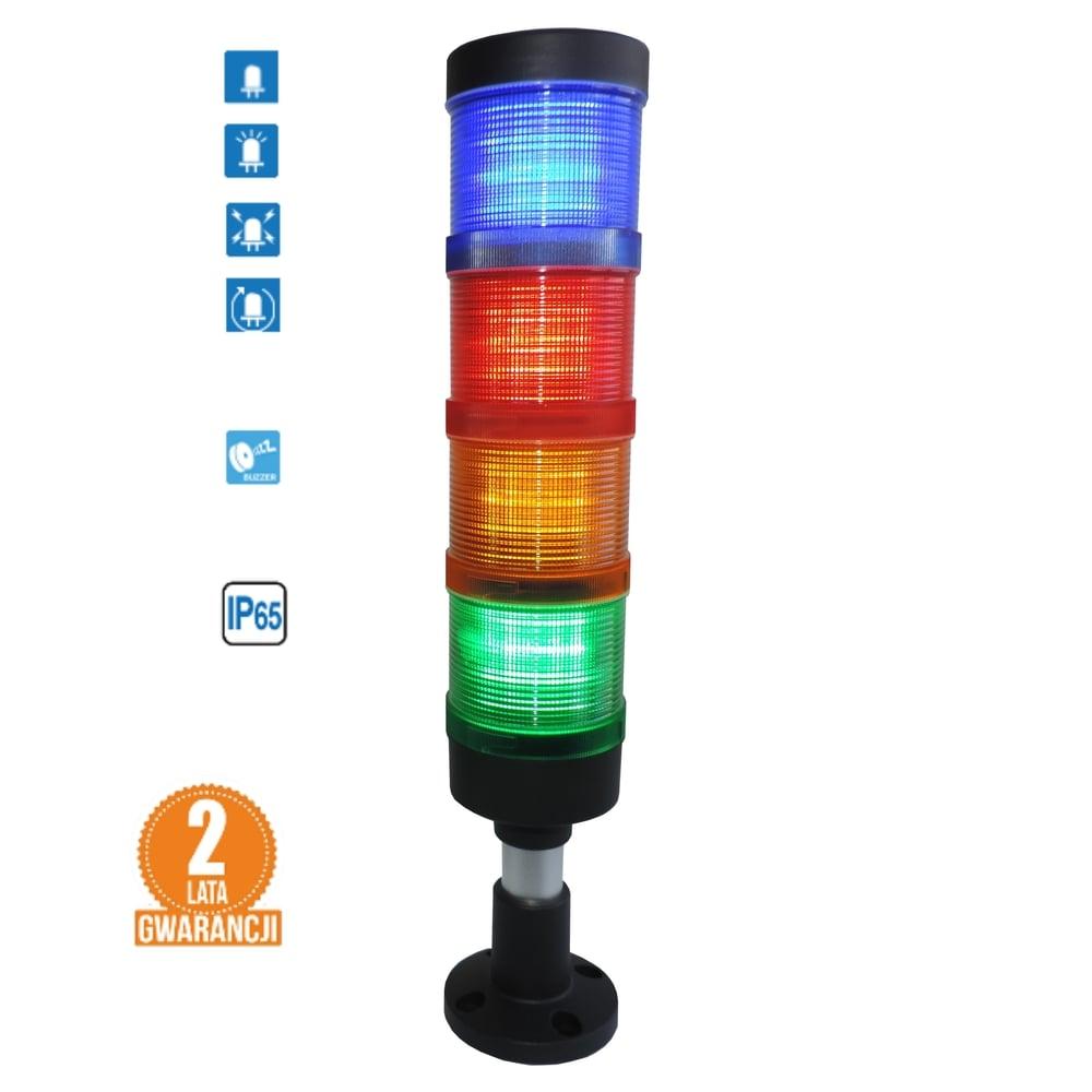 Kolumna LED FL70: 4kolory + buzzer, IP65, 4tryby świecenia! komplet