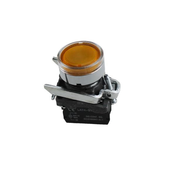 LAY4-BW3561 – przycisk podświetlany z samoczynnym powrotem – ŻÓŁTY, LED 24V