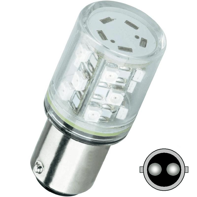 Żarówka LED BA15D, 15 diod LED – Super jasnych, 24V AC/DC, światło ciągłe, kolor do wyboru