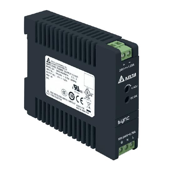 Zasilacz impulsowy 24VDC, 30W; 1.25A; Delta – 5lat gwar., DRS-24V30W1NZ