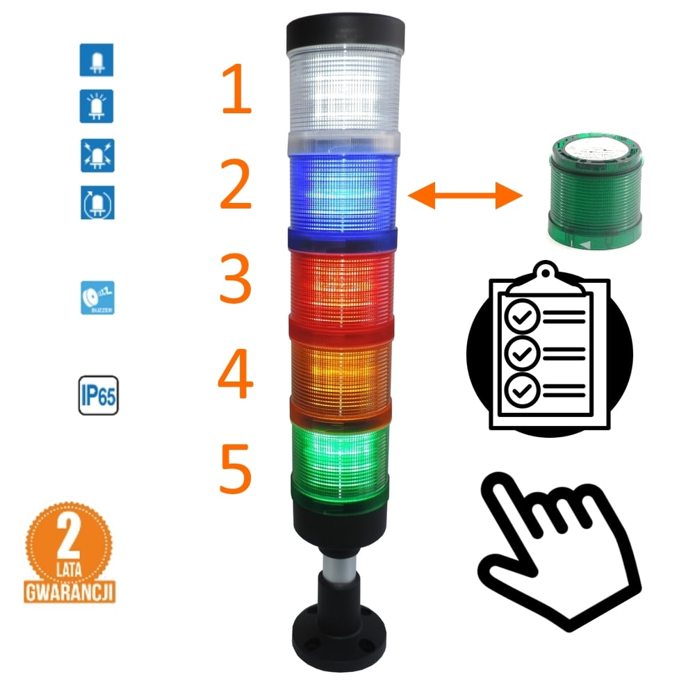 Kolumna LED FL70 – Samodzielna dowolna konfiguracja, komplet, IP65