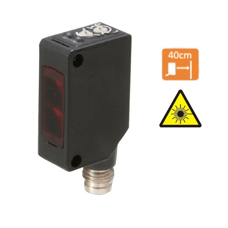 TLS-BC40DPB-E3 – Czujnik laserowy odbiciowy, PNP, NO/NC, Sn=40cm, konektor M8/4pin