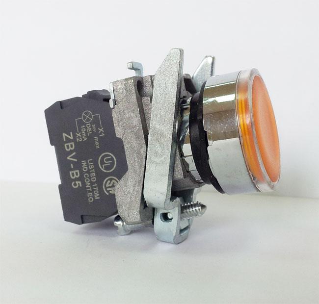 LA139T-BW3561 – przycisk podświetlany z samoczynnym powrotem – ŻÓŁTY, LED 230V