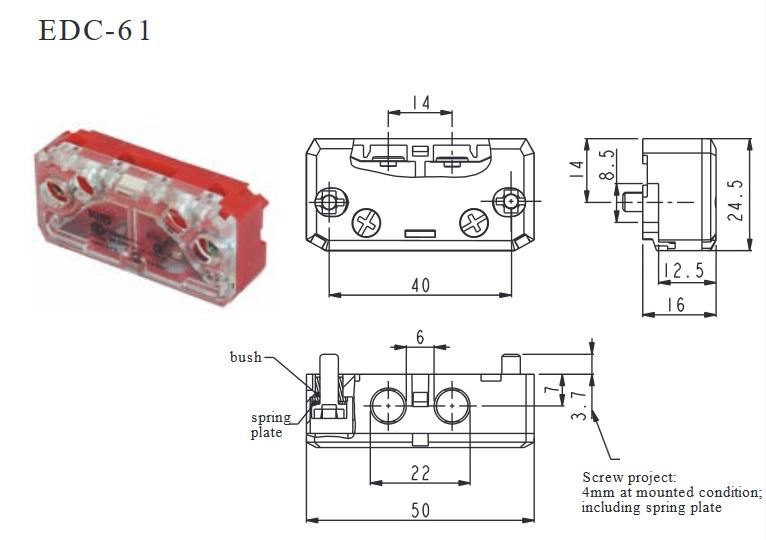 MIKROWYŁĄCZNIK, kontakt drzwiowy, łącznik krańcowy EDC-61 9-10mm SUNS