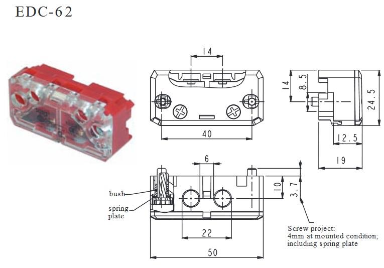 MIKROWYŁĄCZNIK, kontakt drzwiowy, łącznik krańcowy EDC-62 9-10mm SUNS