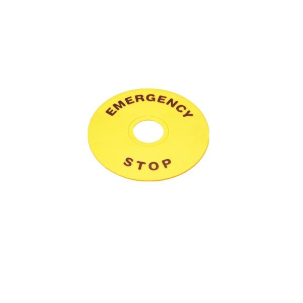 Kółko, szyld, etykieta do przycisku awaryjnego, bezpieczeństwa, EMERGENCY STOP – LAY5-ER60 LAY5 ER60 – tabliczka żółta, opisowa