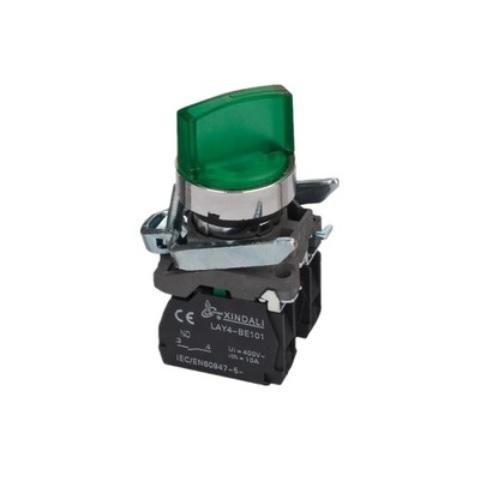 Przełącznik Podświetlany LED 2-poz. samoblokujący LAY4 BK2365 ZIELONY 230V LAY4-BK2365
