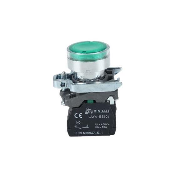 LAY4-BW3361 – przycisk podświetlany z samoczynnym powrotem – ZIELONY, LED 230V, LAY4 BW3361