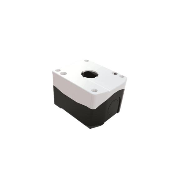 Pusta biała kaseta sterownicza z 1 otworem 22mm – XDL2-BE01P, IP54, z dławikiem