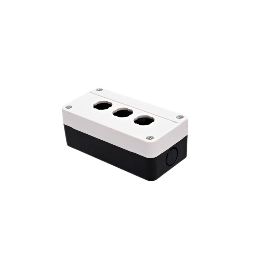 Pusta biała kaseta sterownicza z 3 otworami 22mm – XDL2-BE03P, IP54, z dławikiem