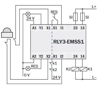 RLY3-EMSS100 przekaźnik bezpieczeństwa SICK schemat