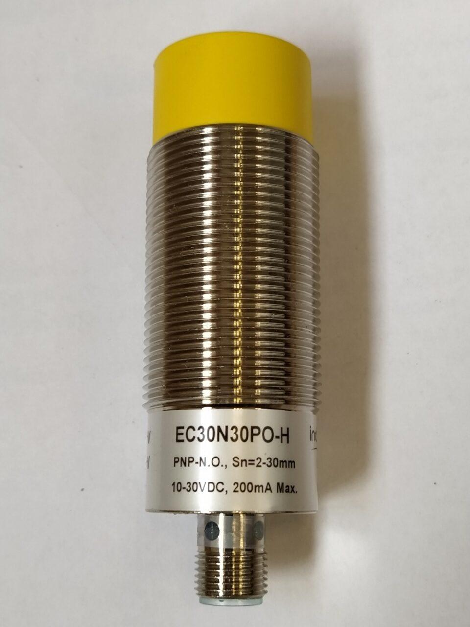 EC30N30PO-H- czujnik pojemnościowy, M30, zasięg 2-30mm, PNP, NO, konektor M12, obudowa metalowa, IP67, dioda LED, 10-30V DC, Indual