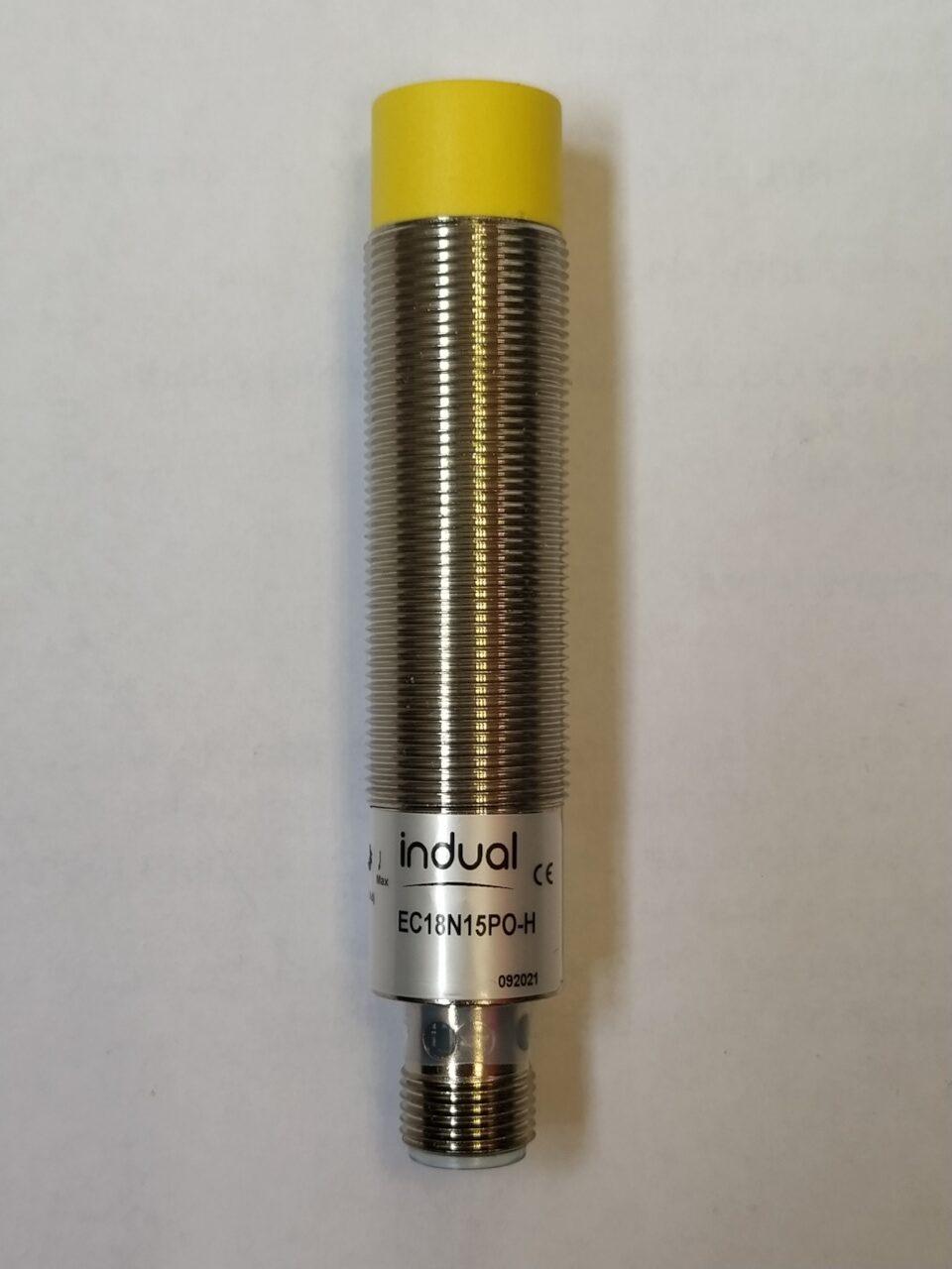 EC18N15PO-H- czujnik pojemnościowy, M18, zasięg 2-15mm, PNP, NO, konektor M12, obudowa metalowa, IP67, dioda LED, 10-30V DC, Indual